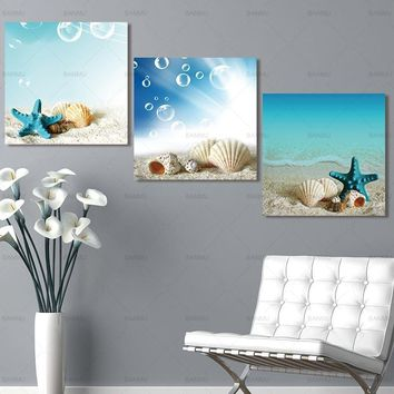 Picture Canvas Painting Starfish shell Wall Art  Wall picture sea Canvas Prints beautiful art wall Pictures home decoration