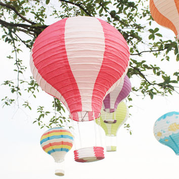 30cm Hot Air Balloon Rainbow Printing Paper Lantern Wedding Decoration Children's Bedroom Hanging Birthday Party Decor LS1523