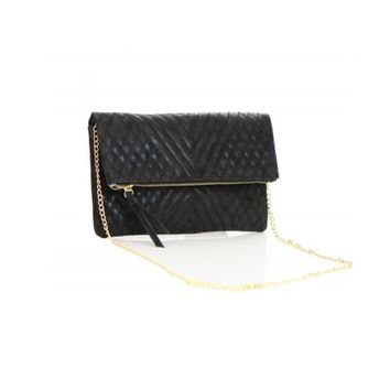 Women's Clutch Black Woven Flap Front