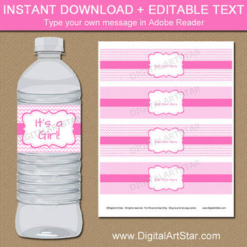 Pink Baby Shower Water Bottle Labels - Pink Girl Baby Shower Party Decorations - Pink 1st Birthday Water Labels Pink Water Bottle Labels 2P