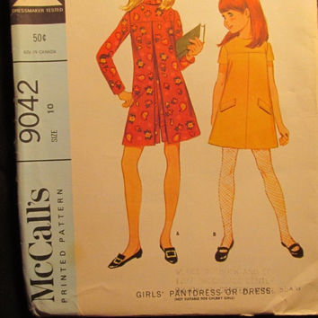 SALE Uncut 1960's McCall's Sewing Pattern, 9042! Size 10 Girls/Kids/Children/Pant-Dress/Jumper/Jumpsuit/Summer/Spring/Casual Play Clothes