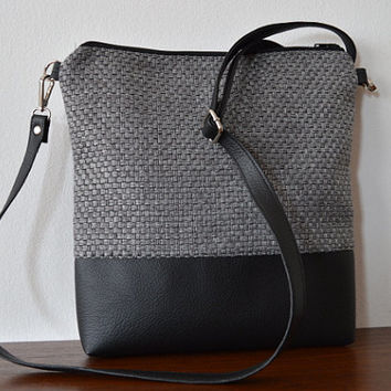 Grey Upholstery Fabric and Black Faux Leather Crossbody Shoulder Bag Purse
