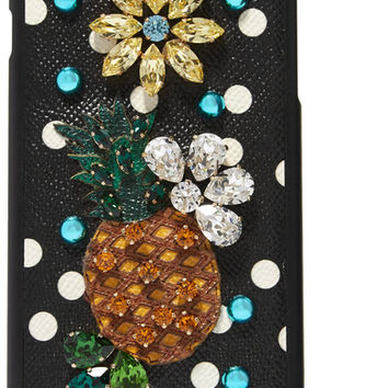 Dolce & Gabbana - Embellished printed textured-leather iPhone 7 Plus case