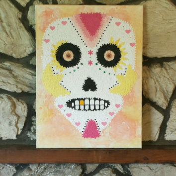 Flower Wall Art- Sugar Skull (18x24)