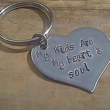 my kids are my heart and sould Personalized Hand Stamped Heart Keychian - stainless steel - kids - mom - dad