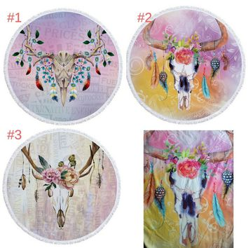 Indian Round Boho Chic Bull Skull Dream Catcher Beach Towel & Tapestry