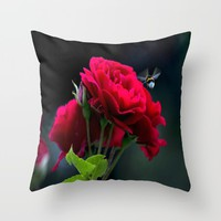 Red Rose Pollination Throw Pillow by J&C Creations