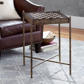 BRASS & LEATHER GAME TABLE