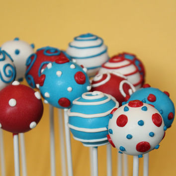 12 Dr Seuss Cake Pop Celebration Assortment - for Cat in the Hat, teacher appreciation, birthday, children's book party favor, baby shower