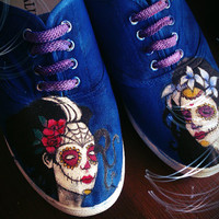 Personalized handpainted shoes, Santa Muerte, personalized sneakers