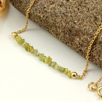 Green Rough Diamonds  on 14K Gold Filled Chain  by LiansElegance
