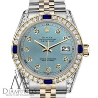 Unisex Rolex 36mm Datejust 2 Tone Ice Blue Dial Accent with Sapphire & Diamond
