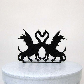 Wedding Cake Topper - Two Dragons in Love Silhouette Cake Topper