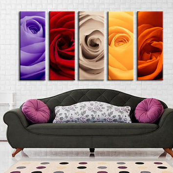 Colorful Mixed Rose Canvas Art Prints For Wall, 5 Panels Framed Ready to Hang, Cherry Blossom Prints On Canvas, 100% Quality Prints