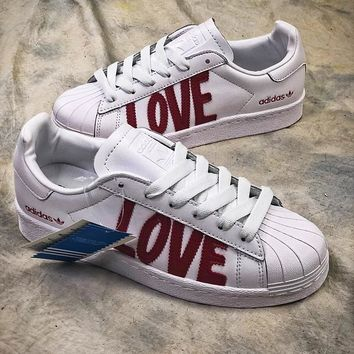 Adidas SUPERSTAR 80s HH W Love AQ6168 White Red Shoes - Best Online Sale