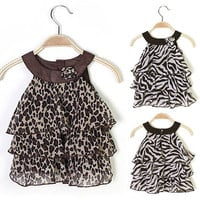 Girl Dress Leopard/Zebra Sleeveless Baby Toddler Chiffon Kid  D_L = 1713085380