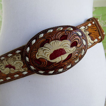 "Vintage Tony Lama tooled leather Belt and Belt Buckle ~ size 36 ~ 1970's ~red velvet inlay with white flowers ""DON"" Boho Festival Gypsy"