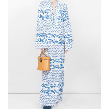 Rebecca De Ravenel Fish Print Maxi Dress - Blue Linen/Flax Dress