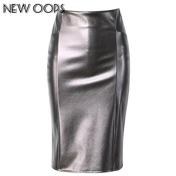 NEW OOPS Women Faux Leather slim High Waist Skirts 2017 Casual Tube Wrap Bodycon PU Pencil Skirts Midi Saias Femininos A1702031