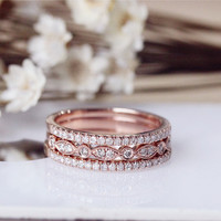 Wedding Ring Set Solid 14K Rose Gold Diamond Engagement Ring Set Half Eternity Stackable Matching Band