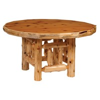 """Cedar Round Log Dining Table 42"""" with Standard Finish"""
