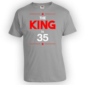 Personalized Birthday T Shirt 35th Birthday Gift Ideas For Men Bday Present For Him Custom TShirt The King Is 35 Years Old Mens Tee - BG240