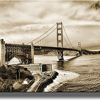 Golden Gate Bridge San Francisco Picture on Stretched Canvas, Wall Art Decor, Ready to Hang!.