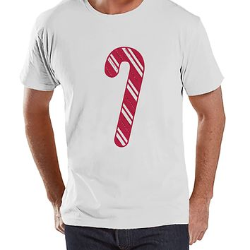 Men's Christmas Shirt - Candy Cane Shirt - Christmas Present Idea for Him - Family Christmas Pajamas - White T-shirt - Christmas Gift Idea