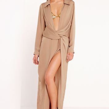 Missguided - Peace + Love Wrap Front Shirt Maxi Dress Nude