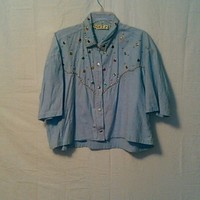 Western studded button up crop top