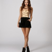 Sale-gold Sequin Party Rocker Romper