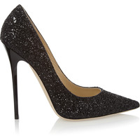 Jimmy Choo - Anouk glitter-finished leather pumps