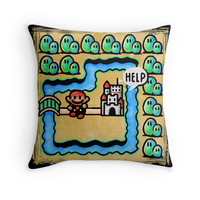 'Super Mario 3 Level 1' Throw Pillow by likelikes