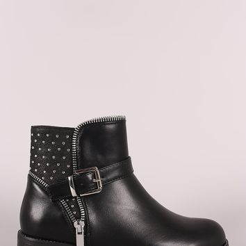Wild Diva Lounge Buckled Zipper Trim Moto Ankle Boots