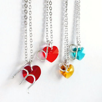 Letter Necklace - Wire Initial Necklace with Crystal Heart - 'Only You'