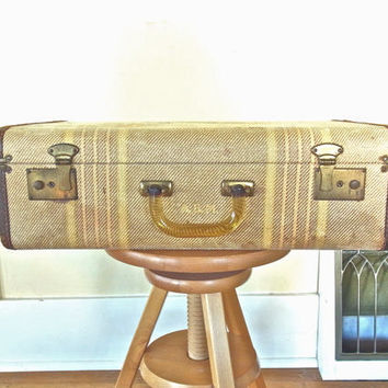 vintage suitcase golden tweed old suitcases suit case antique christmas gift luggage 1940s 1950s 1940 1950 stacking wedding decor photo prop