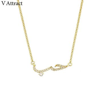 V Attract Friendship CZ Arabic Love Statement Pendant Necklace Women Men Vintage Jewelry Rose Gold Ketting ettingen Voor Vrouwen