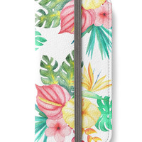 iPhone 6 Wallet Tropical Hawaiian Flowers iPhone 6S Plus Wallet Case Watercolor Yellow Green Red Pink Woman's Lady Wallet Gift For Her
