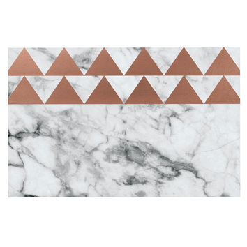 "KESS Original ""Marble & Metal"" White Copper Decorative Door Mat"