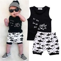 Cartoon Shark Printing Baby Clothes Set 2016 New Arrival Fashion Hot Sale Sleeveless T-shirt And High Waist Shorts Summer Wear