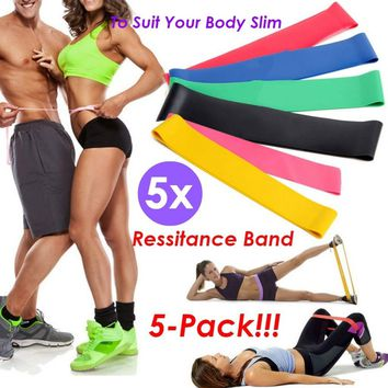 5 Pcs Stretch Band Natural Latex Strength Training Resistance Exercise Loop Bands For Home Gym Fitness