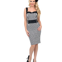Black & White Stripe Belted Darling Wiggle Dress