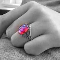 Fire Opal Ring Dragon's Breath Ring Gothic Jewelry Red Gothic Ring Wiccan Jewelry Wiccan Ring Victorian Jewelry Mexican Opal Unique Ring