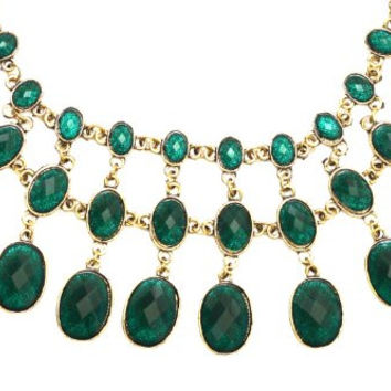 Green Crystal Choker Necklace Tiered Chainmail Link NL33 Gold Tone Collar Bib Pendant Fashion Jewelry