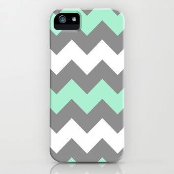 Mint White Grey Chevron iPhone & iPod Case by CreativeAngel