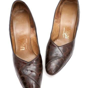 VTG 1950s Shoes  Alligator Pumps Heels Troylings Brown Womens Size 6 M 1960S