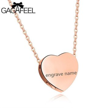 GAGAFEEL Laser Custom Engrave Unscrewed Necklace For Women Jewelry Heart Shape Put Small Stuff Stainless Steel Pendant Gift