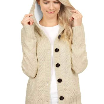 Fleece Hooded Apricot Button Down Cardigan Sweater
