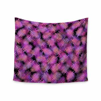 "Ebi Emporium ""TROPICAL PALMS, FUCHSIA BLACK"" Purple,Pink,Pattern,Floral,Mixed Media,Watercolor Wall Tapestry"