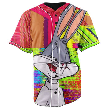 Trippy Bugs Bunny Pink Button Up Baseball Jersey